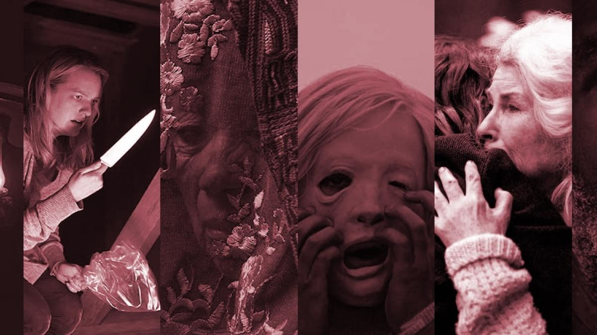 A collage incorporating fragments of still images from multiple 2020 horror films.