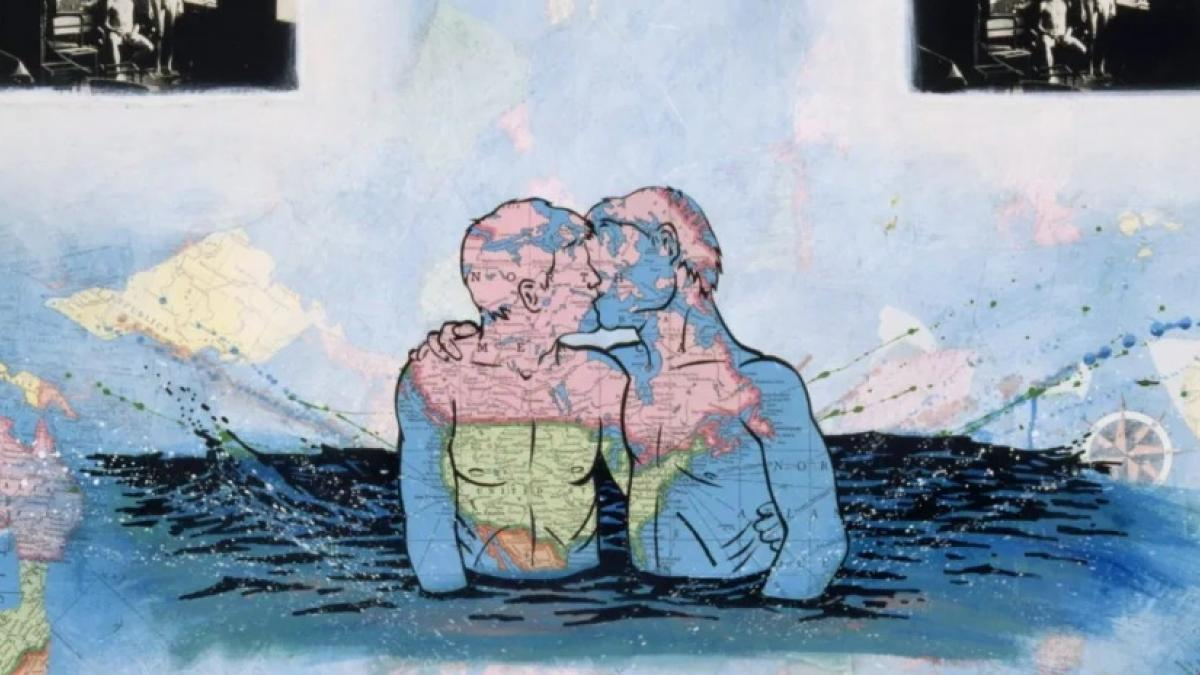 A mixed-media artwork incorporating two male figues standing in water up their waists, embracing and kissing. The figures are rendered in pieces of a map. Black-and-white photos are partially visible the margins.