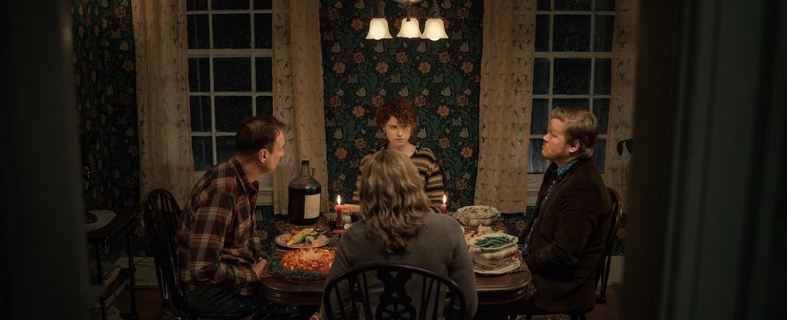 Jessie Buckley (center, rear) meets the parents and struggles to hold on to reality in Charlie Kaufman's 'I'm Thinking of Ending Things'.